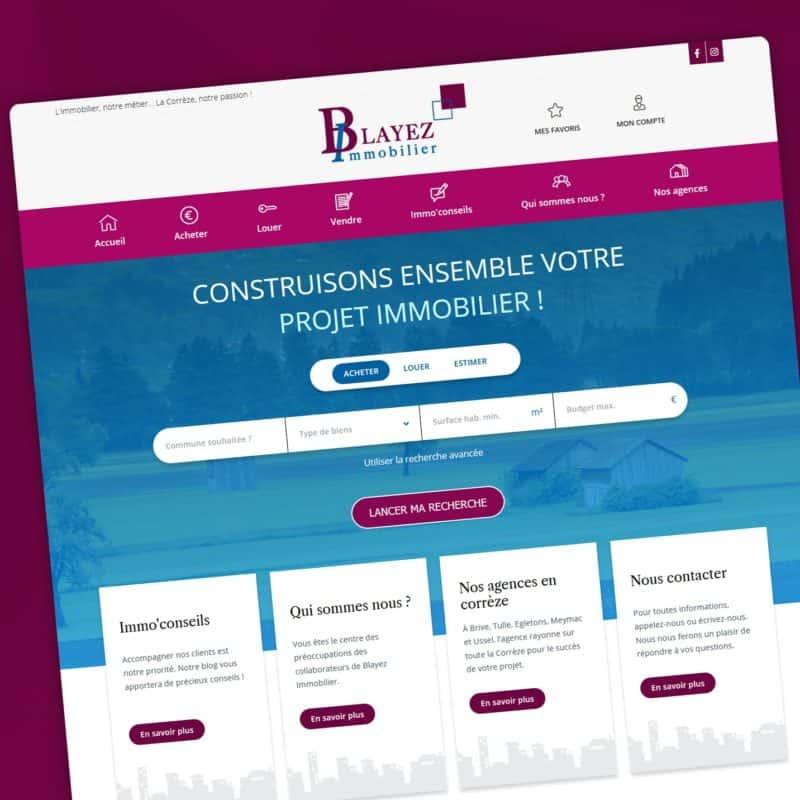 Création d'un site internet catalogue spécialisé dans les annonces immobilières pour Blayez Immobilier.